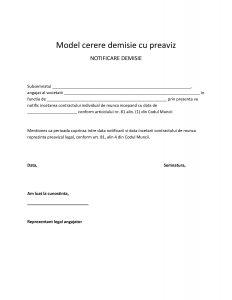 Model cerere demisie cu preaviz
