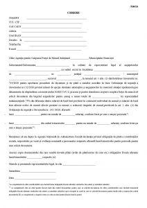 Cerere indemnizatie reducere timp munca